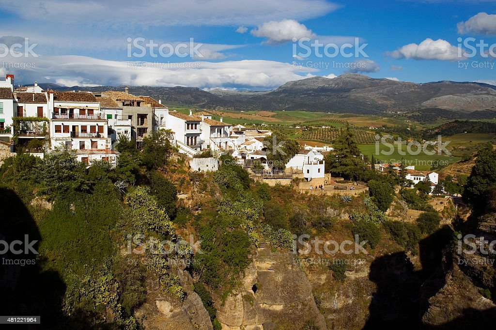 Cliffs of white town Ronda, Andalusia, Spain stock photo