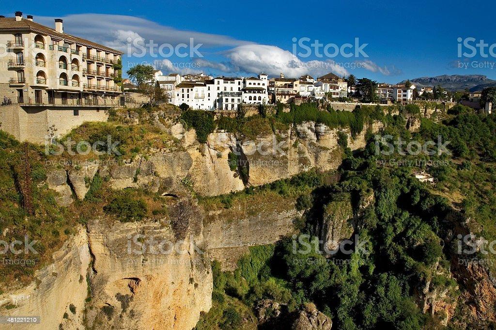 Cliffs of white town Ronda, skyline Ronda, Malaga, Andalusia, Spain stock photo