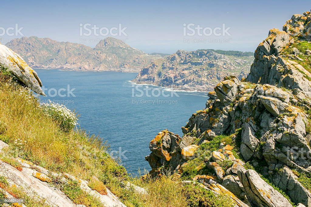 Cliffs on Cies Islands stock photo