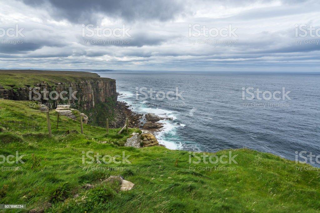 Cliffs on North Sea near Dunnet Head, Caithness, Scotland stock photo