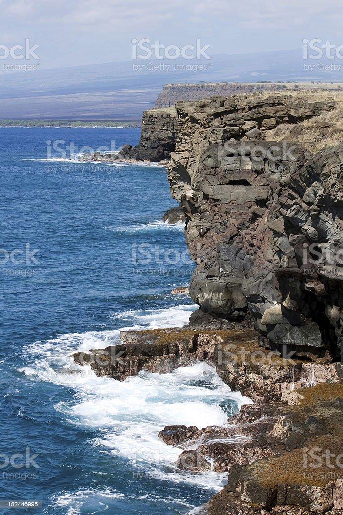 Cliffs Pacific Ocean Hawaii stock photo