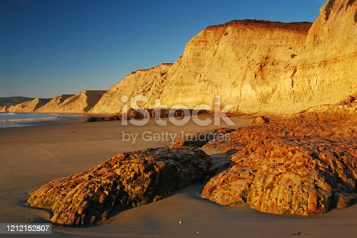 Rock formations sit at the bottom of the cliff near Drakes Bay, Point Reyes National Seashore Park, California