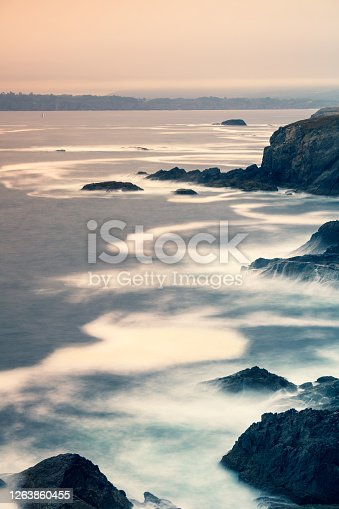 Cliffs with sunset of fog and textures