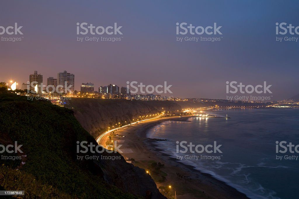 Cliffside View From Miraflores in Lima Peru royalty-free stock photo