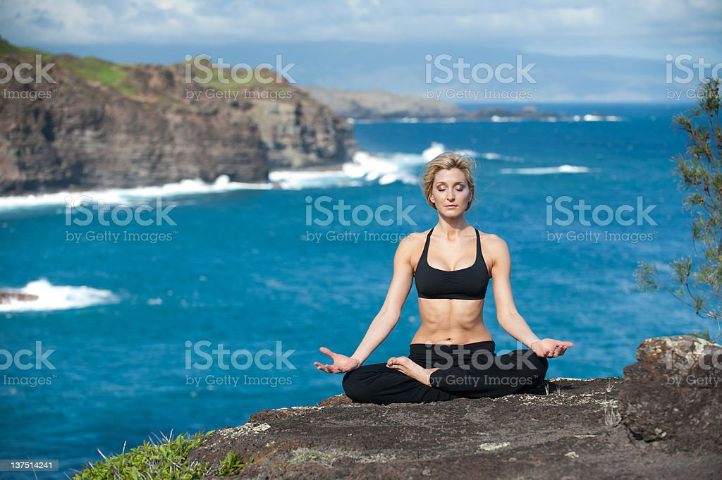 Cliffside Yoga on Maui - Royalty-free Cliff Stock Photo