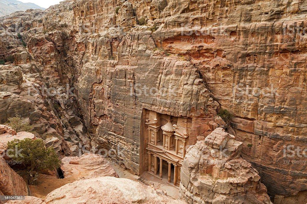 Cliff-top view of Petra's Treasury in Jordan royalty-free stock photo