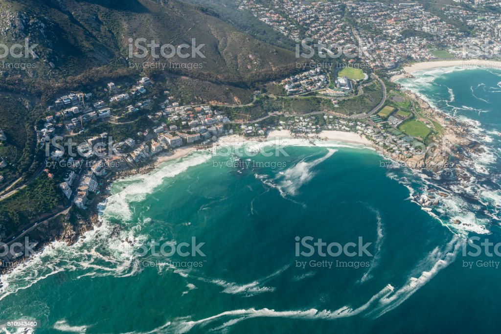 Clifton (Cape Town) aerial shot stock photo