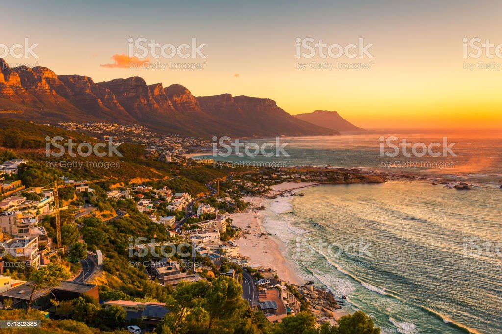 Clifton beach without people in the late afternoon A wide picture of Clifton Beach in Cape Town, South Africa at late afternoon in a beautiful sunset. Colorful and satured taken with a Canon 6D. Beach Stock Photo