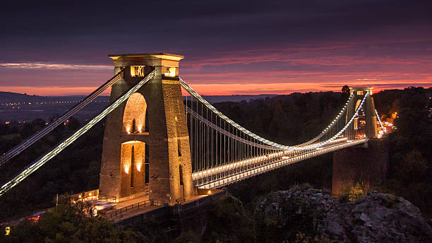 Clifton Suspension Bridge Isambard Kingdom Brunel's 19th century Clifton Suspension Bridge across the Avon Gorge in Bristol, England. somerset england stock pictures, royalty-free photos & images