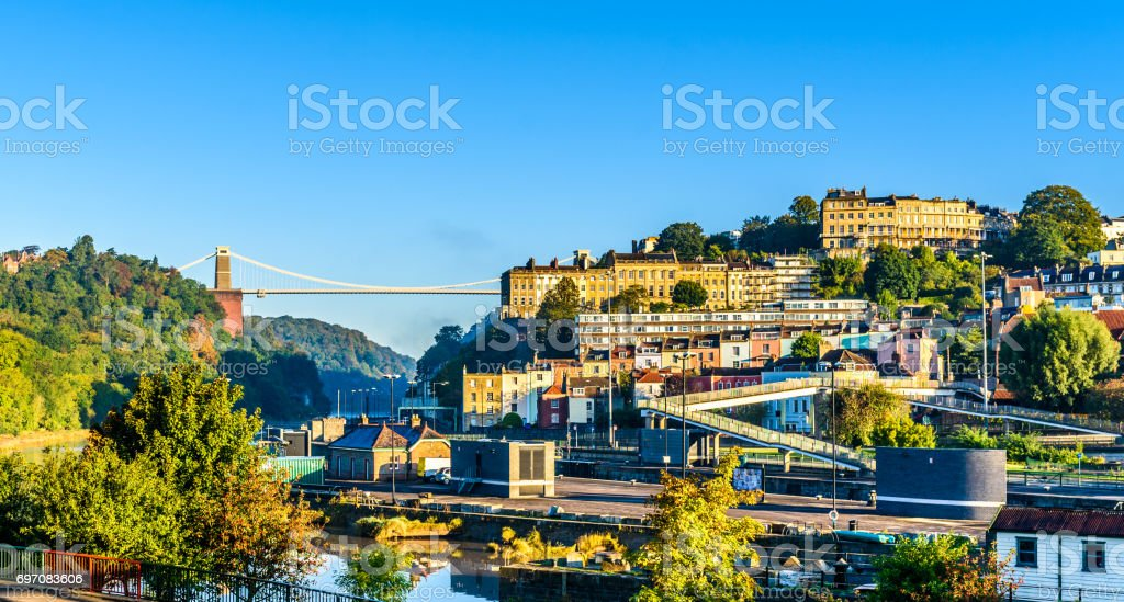Clifton village with suspension bridge stock photo