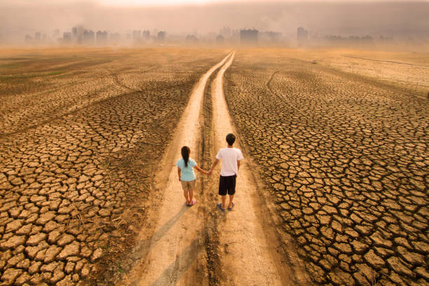 Climate change and Children future stock photo