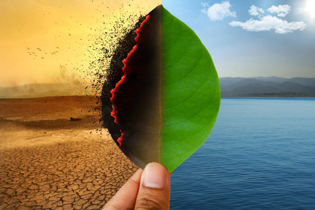 Climate change and global warming concept. stock photo