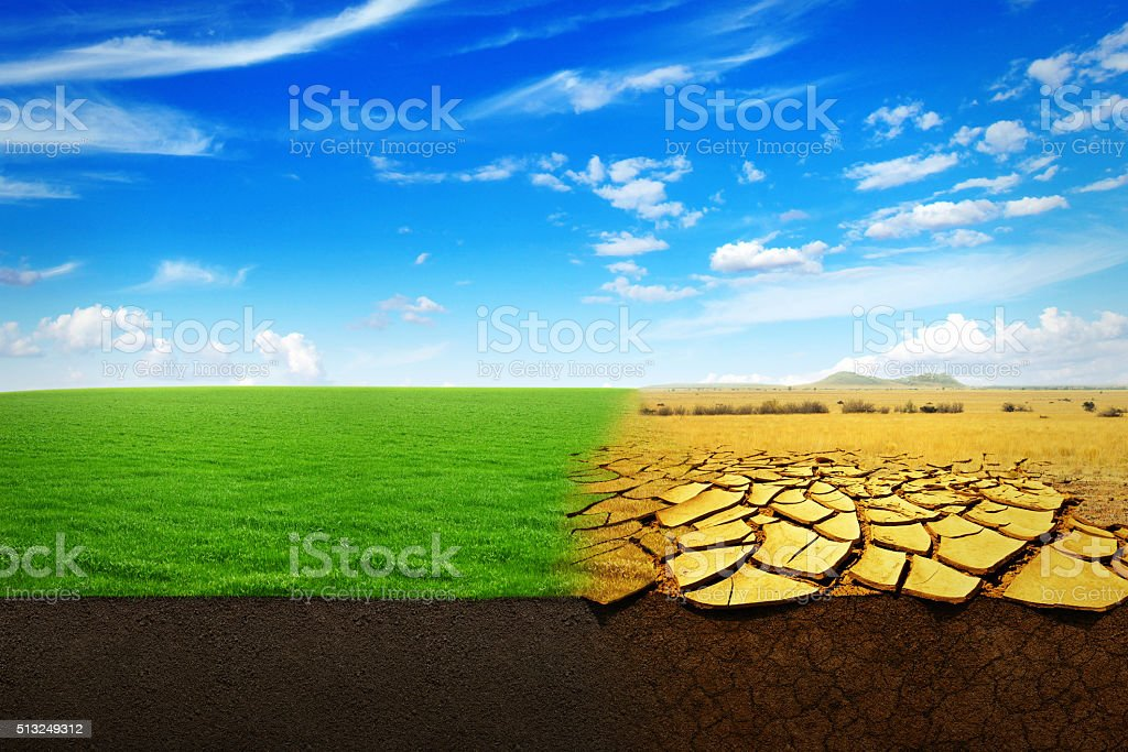 A Climate Change Concept. Beautiful Landscape of a green grass and...