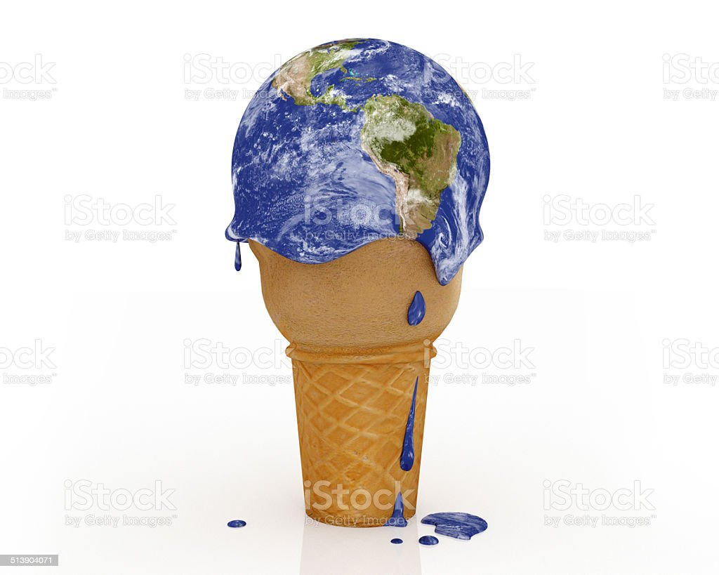 Climate Change - Ice Cream Earth stock photo
