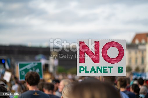no planet b sign at fridays for future demonstration protest march shallow focus on signpost background blurred place for text at cloudy sky