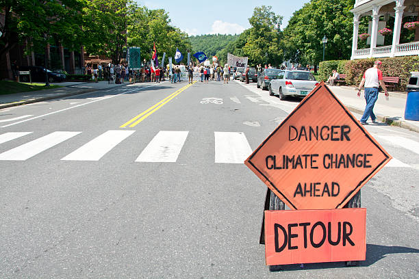 Climate change rally in Montpelier, Vermont stock photo