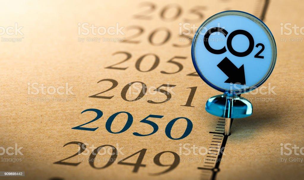 clima 2050 plan, reducir la huella de dióxido de carbono. - foto de stock