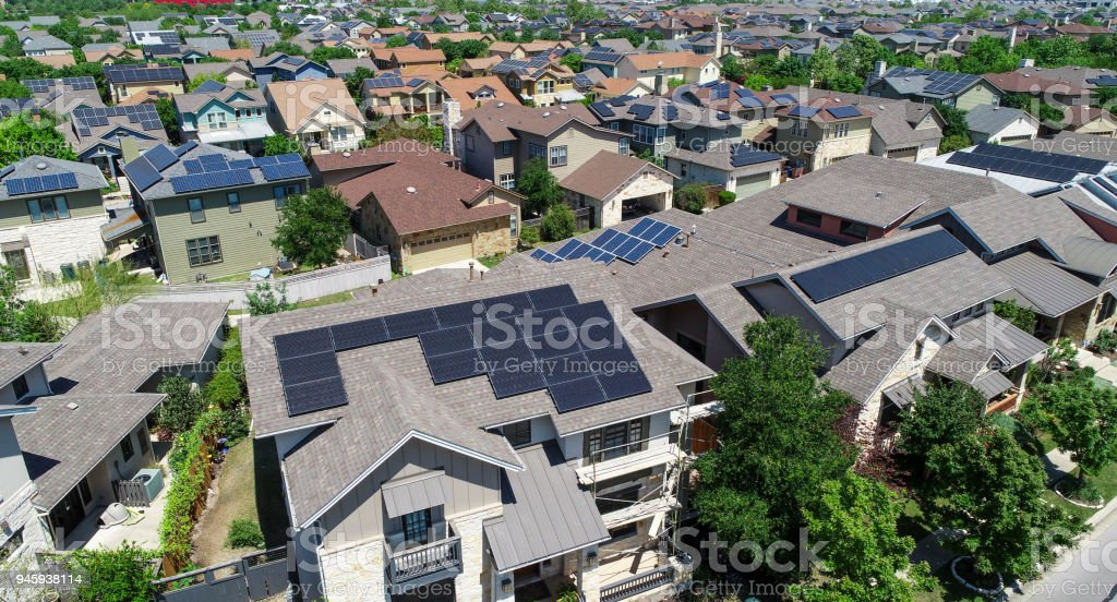 Climate Ready for the future Mueller Suburb Solar Panel Rooftops and Modern Austin Living stock photo
