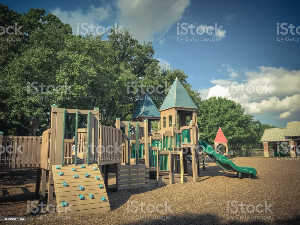 Climb Structure At Public Wooden Castle Style Children Playground In America Stock Photo Download Image Now