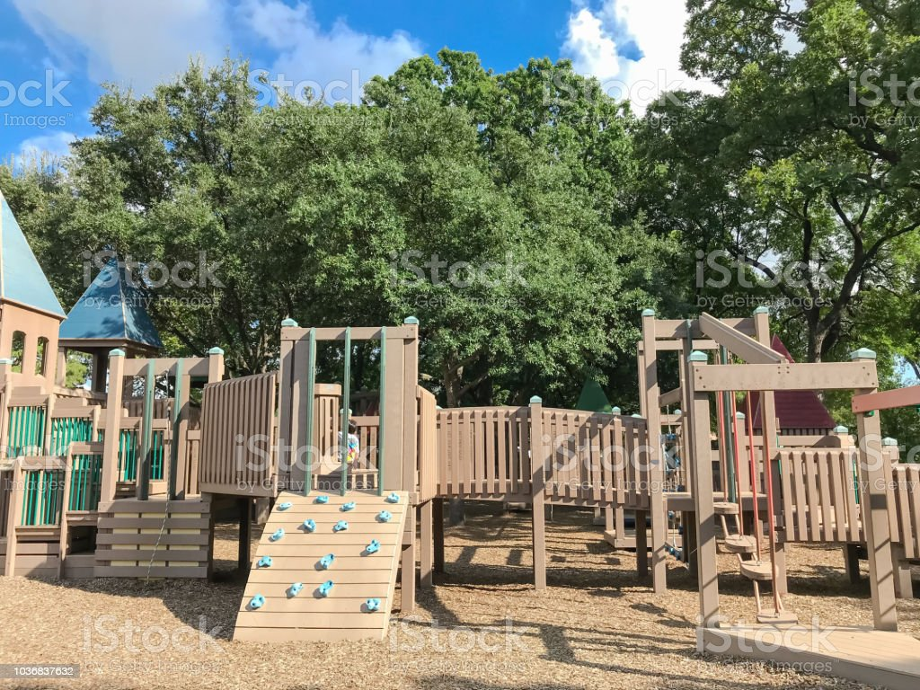 Climb Structure At Public Wooden Castle Style Children Playground In