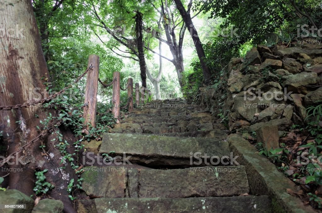 Climb the stairs of mountain path - hiking stock photo