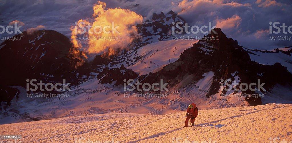 Climber at sunrise royalty-free stock photo