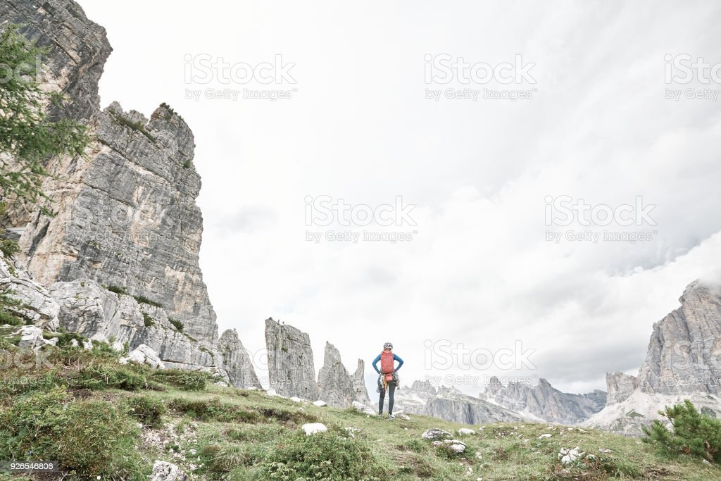 Climber before ascent in 5 Torri stock photo