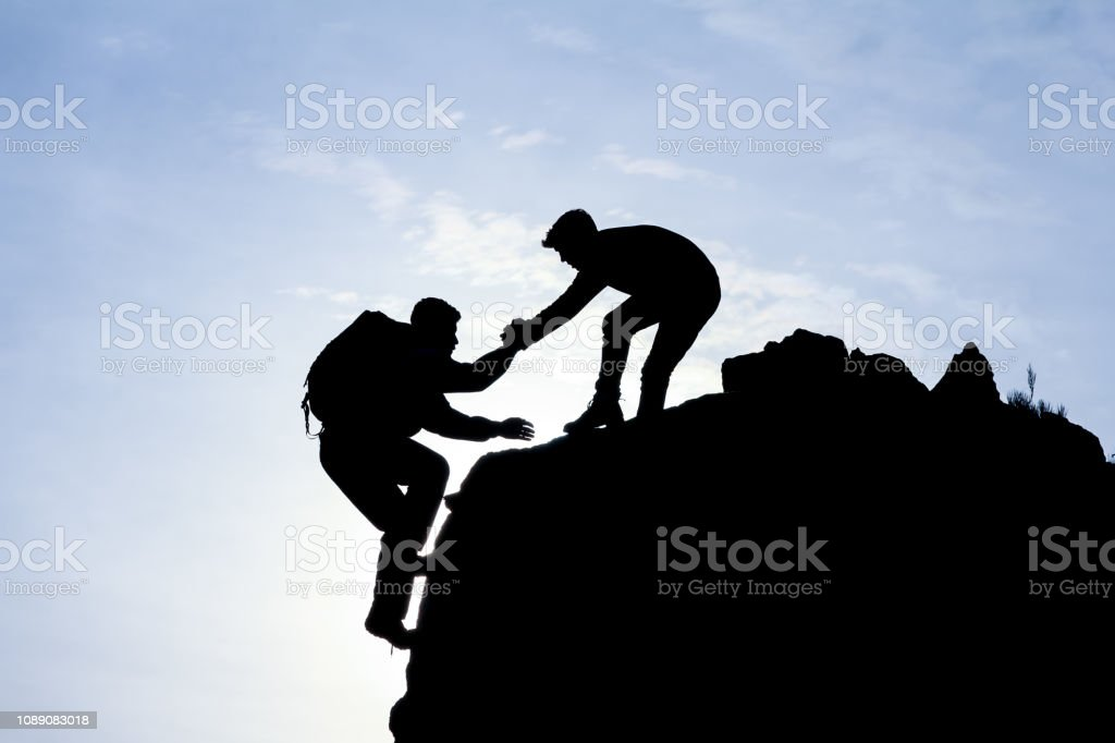 climber, help, support and cooperation stock photo