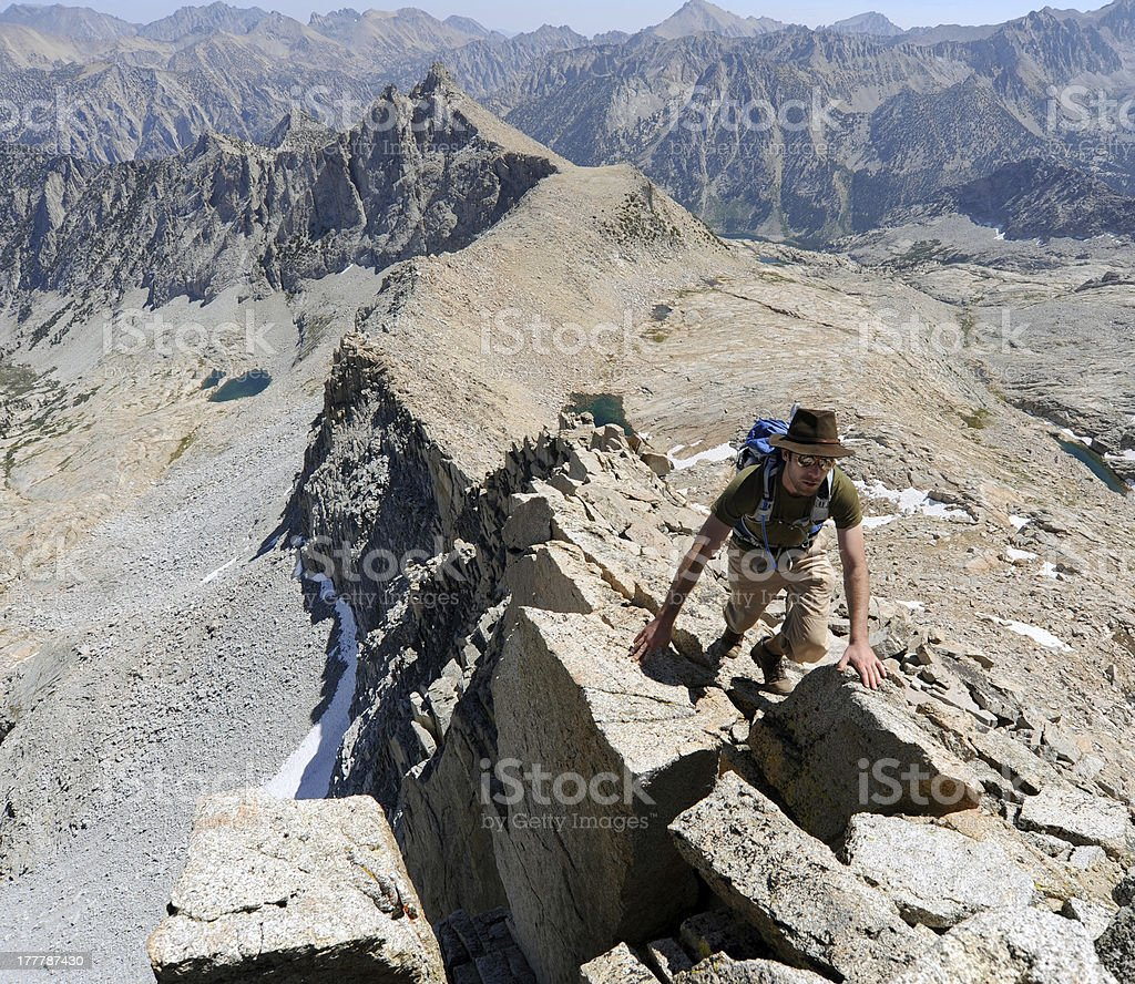 Climber on a granite ridge line royalty-free stock photo
