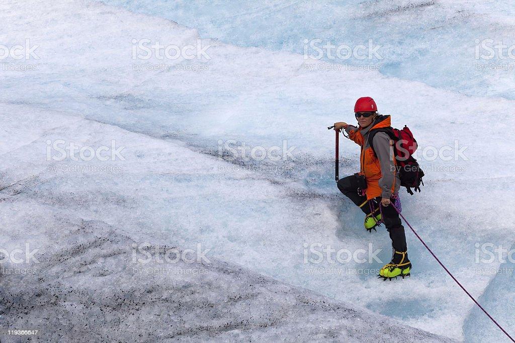 climber on glacier 3 royalty-free stock photo