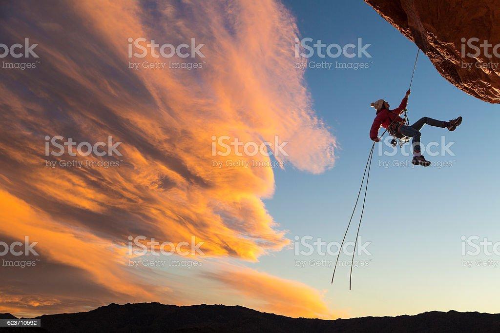 Climber on rappel. stock photo