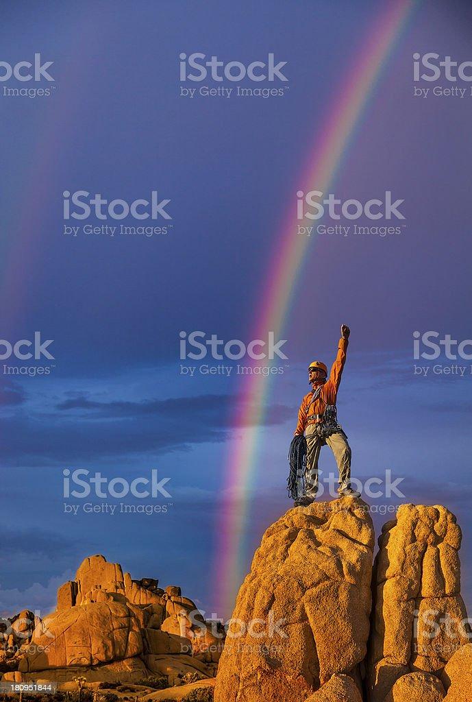 Climber on the summit. royalty-free stock photo