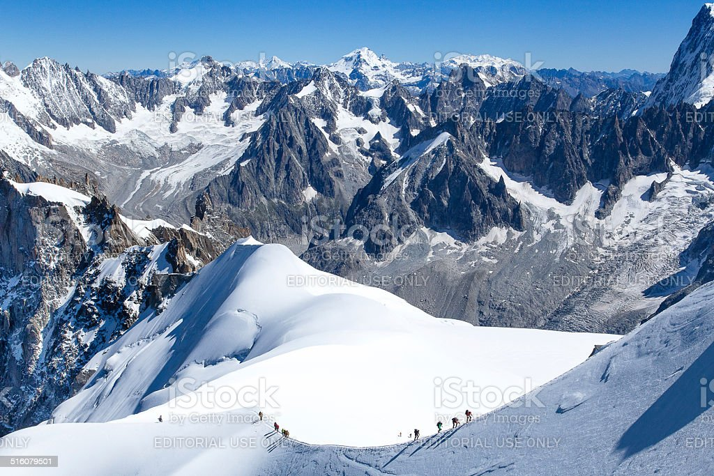 Climber on the way to the top of Mont Blanc stock photo