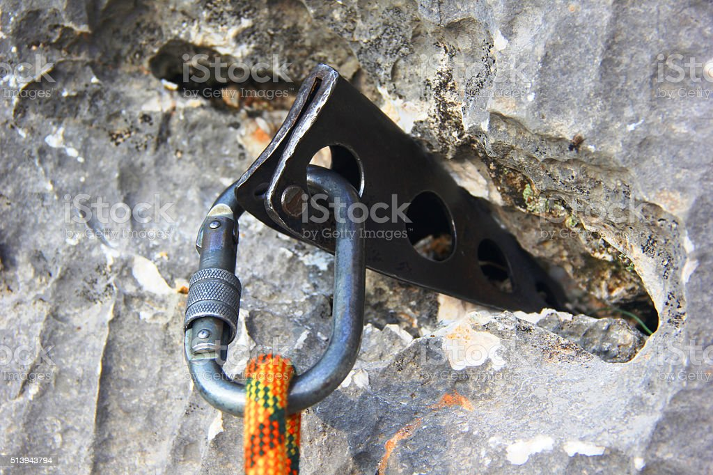 Climber safety equipments carbine stock photo