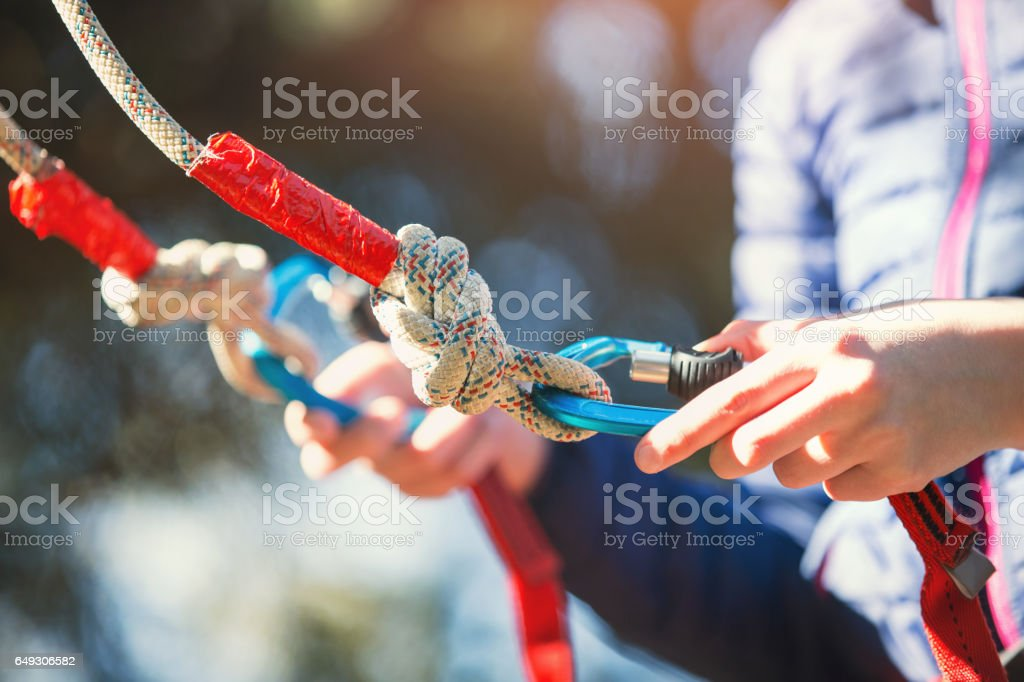 Climber safety equipments stock photo
