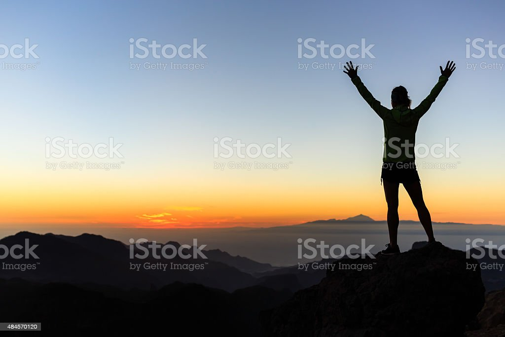 Climber success silhouette, inspiration and motivation stock photo