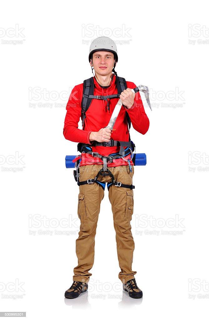 climber with ice ax stock photo