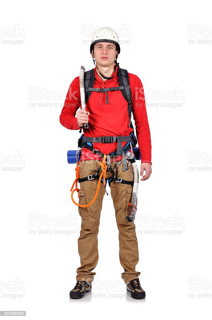 climber with ice axe stock photo