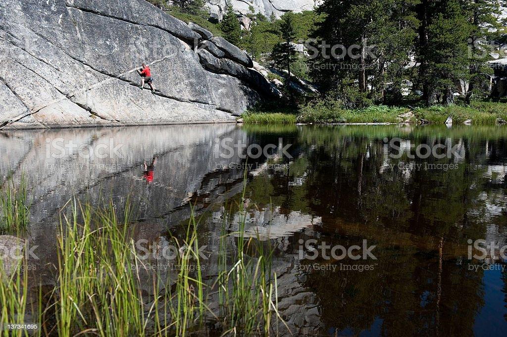 Climber with reflection stock photo