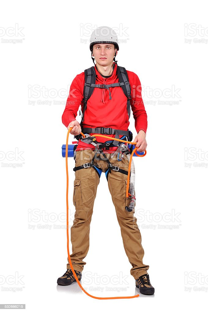 climber with rope stock photo