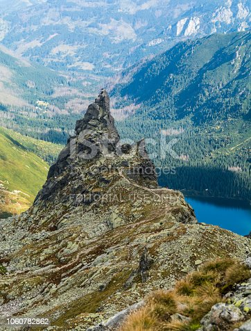 Palenica Bialczanska, Poland - September 13, 2018: Climbers and mountain guides with clients during climbing to the peak of the Mnich (Monk) in the Polish Tatras.