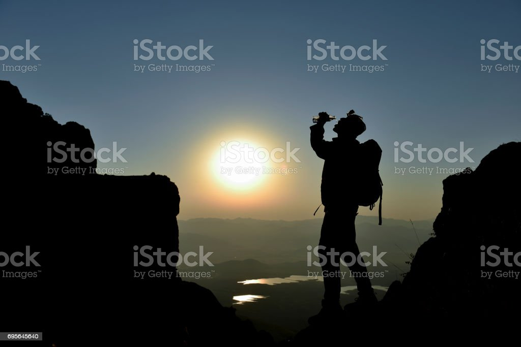 climbers for a water break stock photo