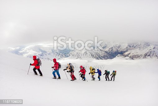 RUSSIA, Elbrus-August 29, 2018: Climbers go climbing. Every year hundreds of people strive to conquer the highest point of Russia