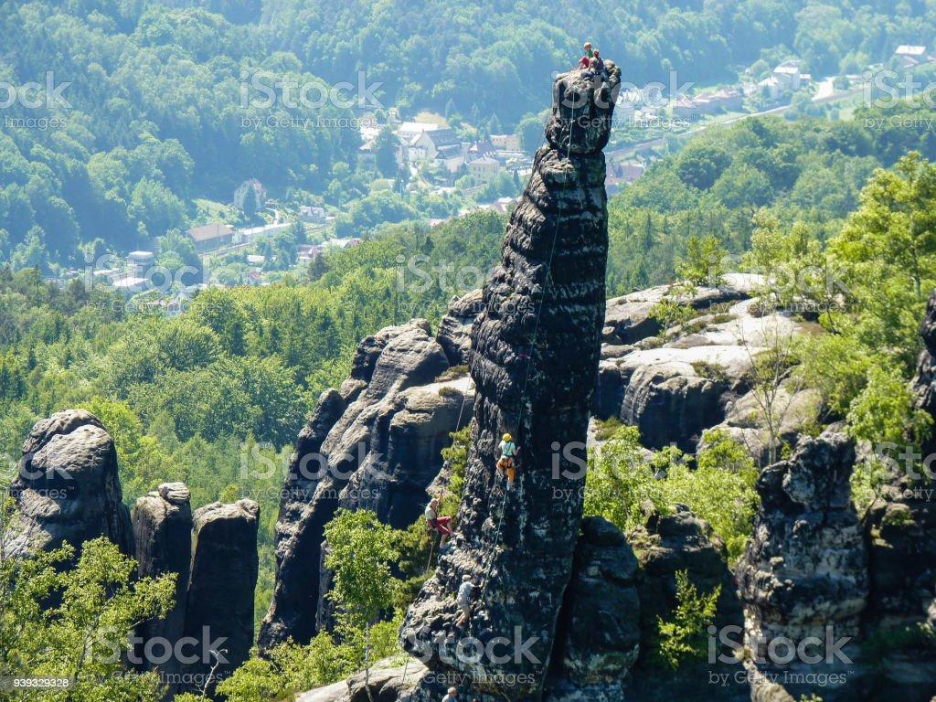 Kletterer in den Elb-Sandestone-Bergen in Deutschland - Lizenzfrei Abenteuer Stock-Foto