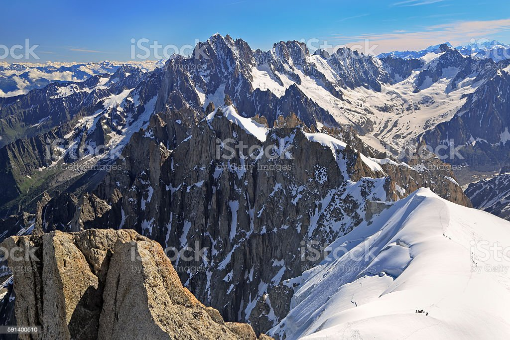 Climbers on French Alps Mountains near Aiguille du Midi - Photo