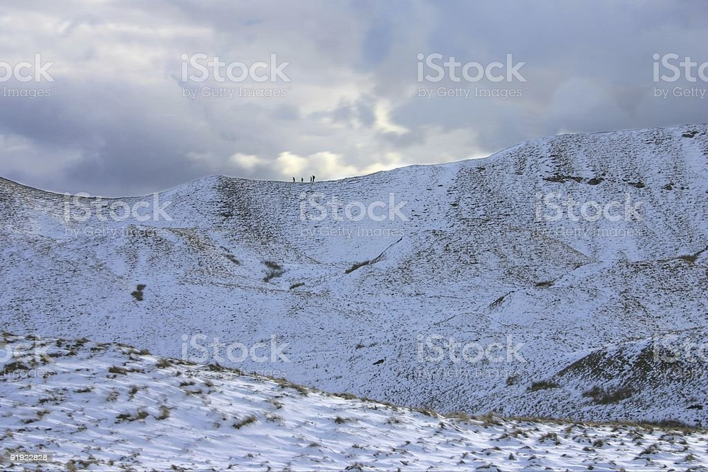climbers on snowy mountain royalty-free stock photo