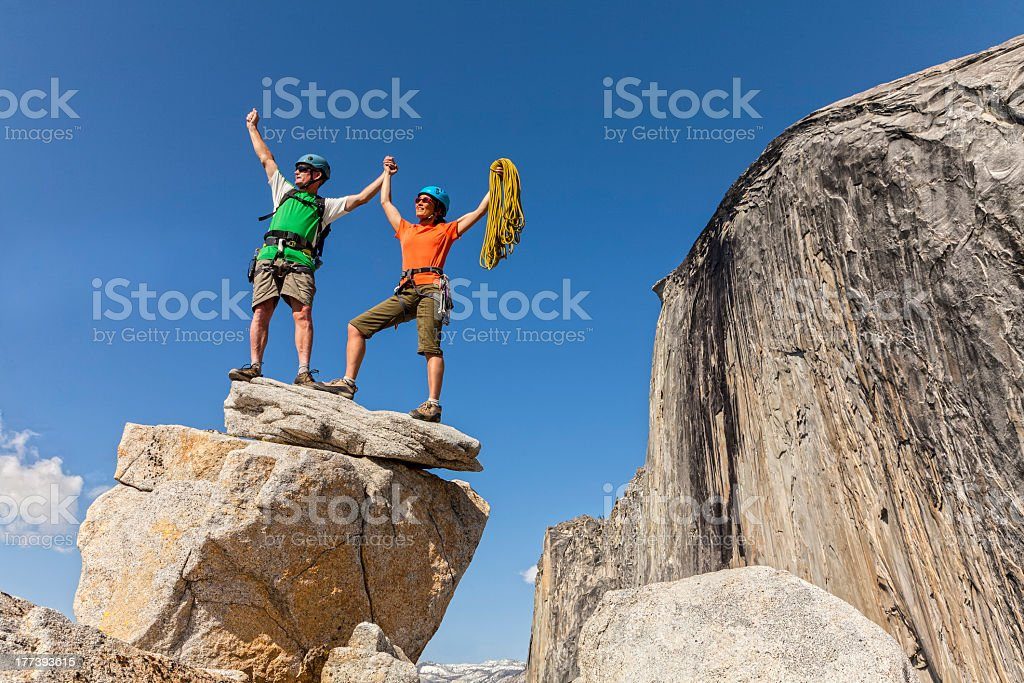 Climbers on the summit. royalty-free stock photo