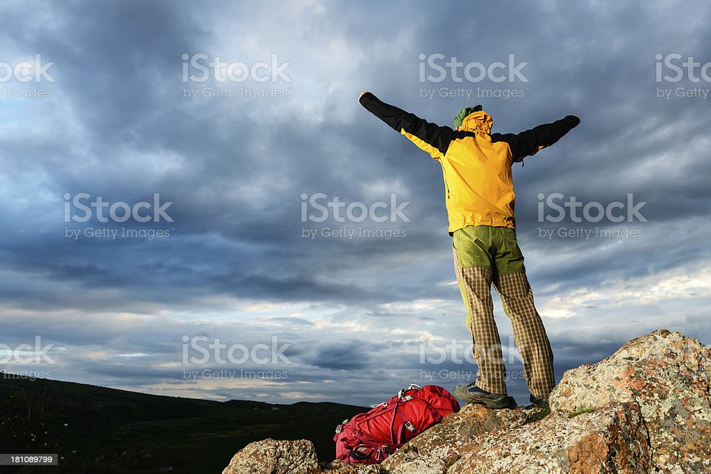 Climber's Victory royalty-free stock photo