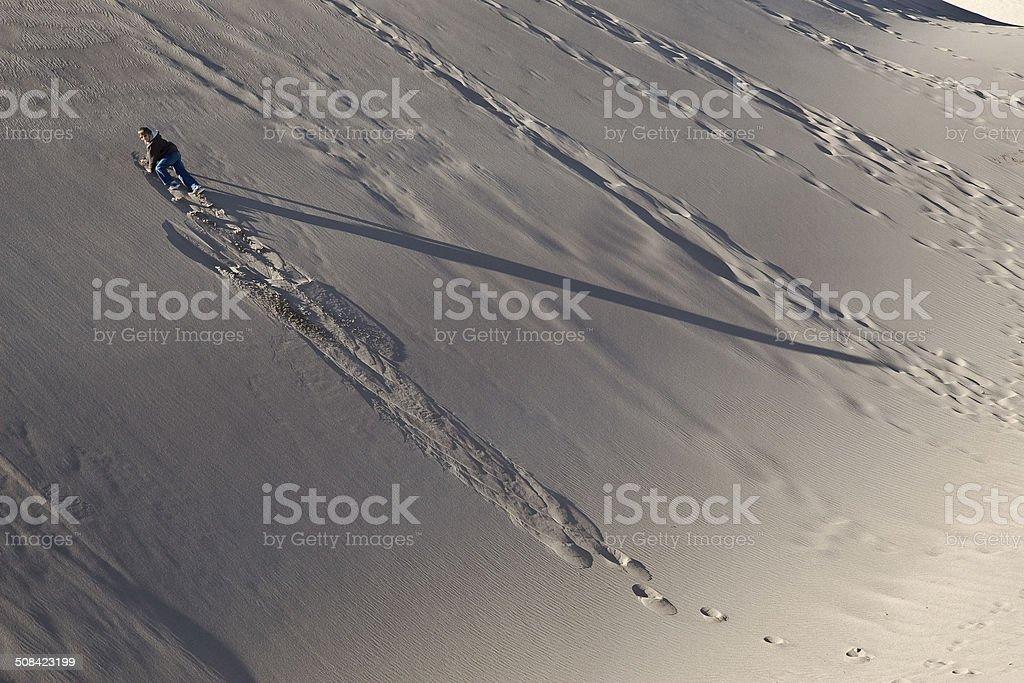 Climbing A Sandy Slope royalty-free stock photo