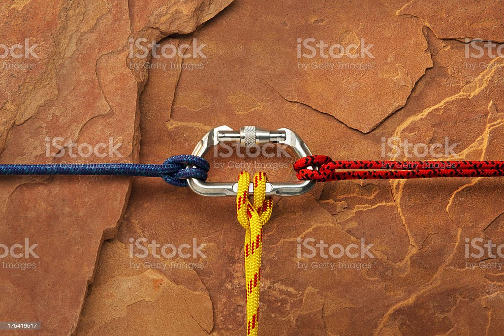 Climbing Connection with a Carabiner Clip stock photo